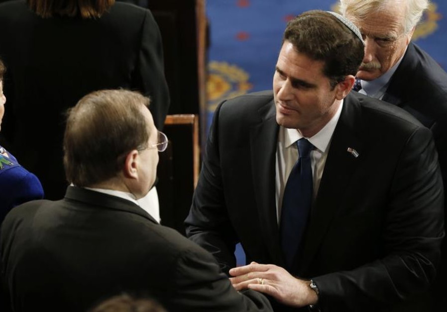 Israel's ambassador to the US, Ron Dermer (R) greets House Rep. (D) Jerrold Nadler