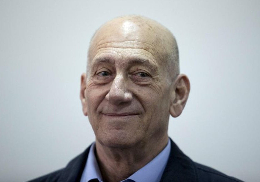 Former Prime Minister Ehud Olmert is seen in Jerusalem District Court
