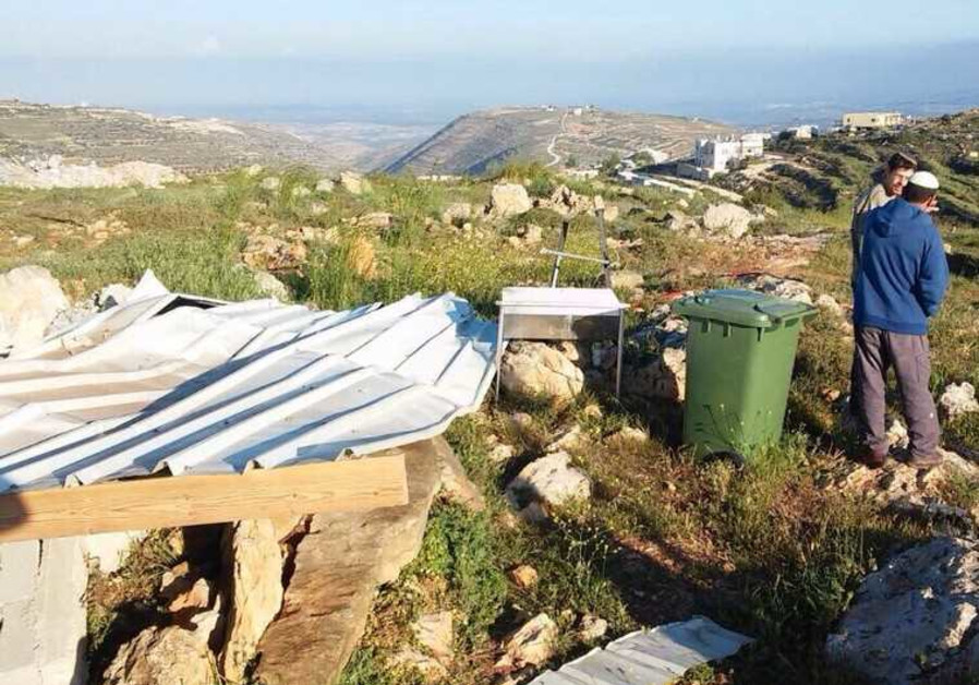 A structure the IDF destroyed at West Bank outpost, March 31, 2015