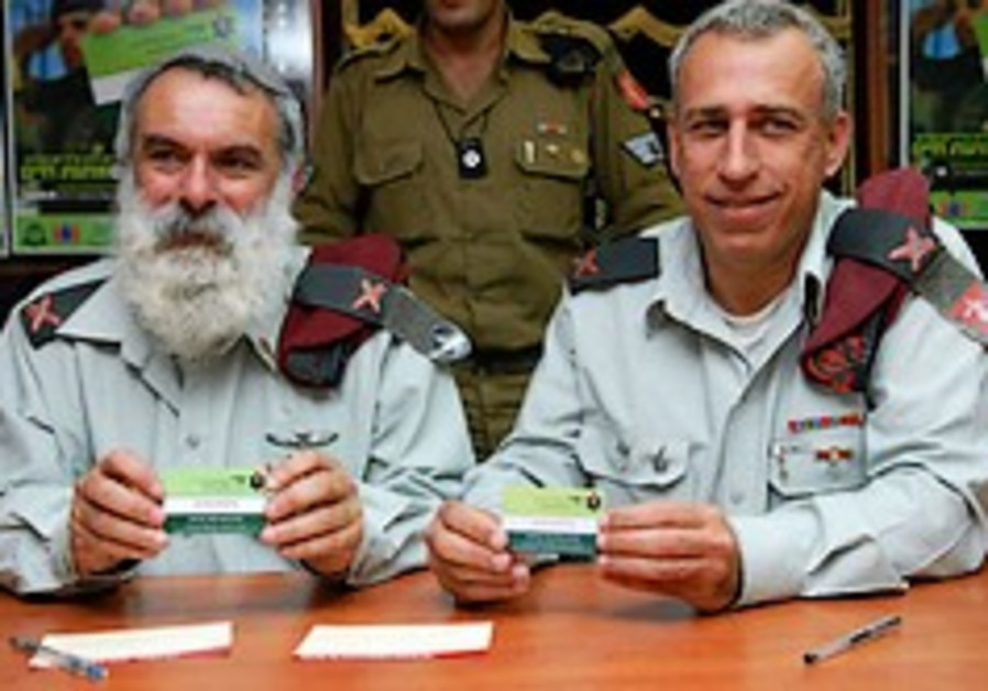 Top IDF brass sign organ-donation cards