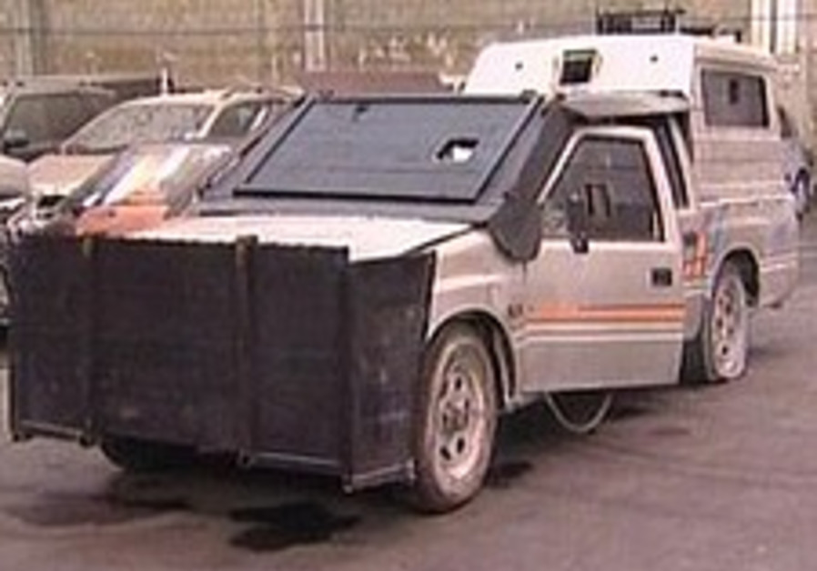 Police find improvised armored pickup truck in Palestinian town