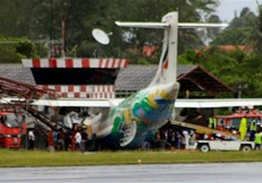 Plane skids into Thai isle control tower