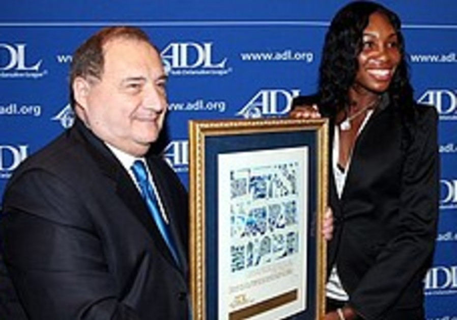 ADL honors Venus Williams for standing up for Pe'er