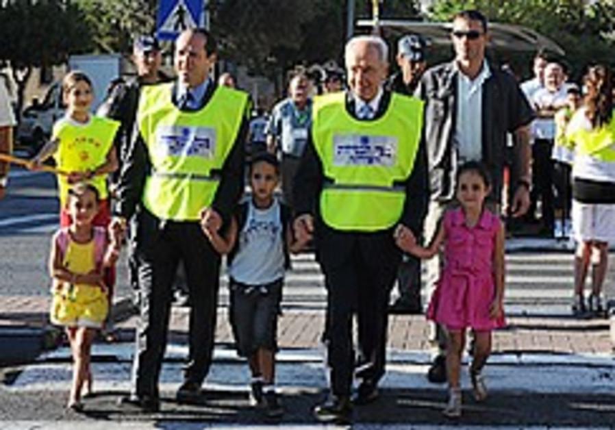 Peres, Barkat visit schools around J'lem