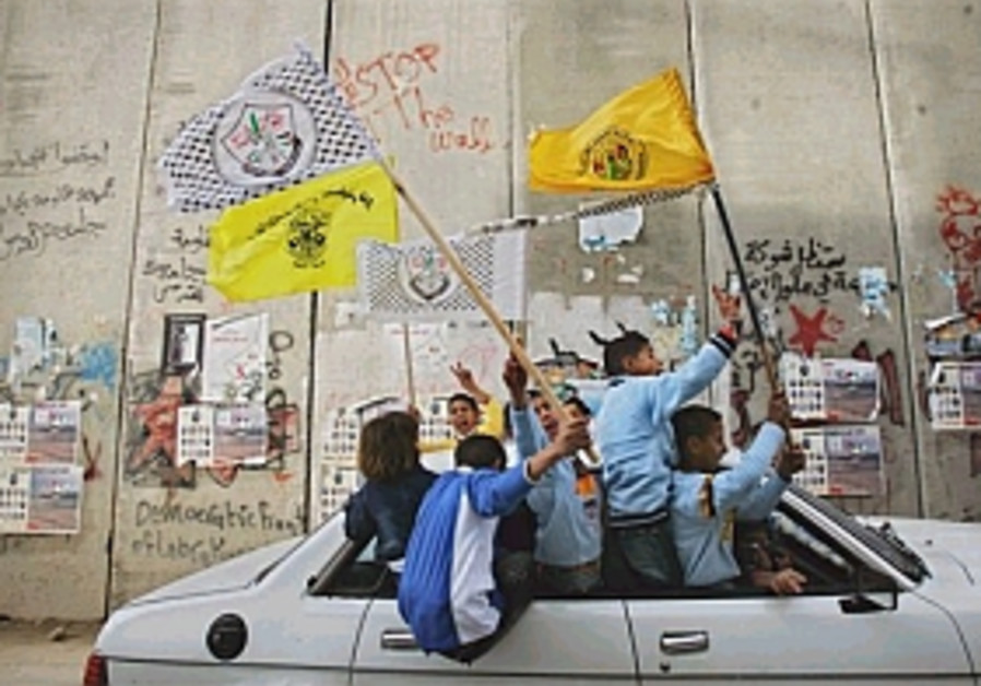 fatah supporters wave flags in car 298