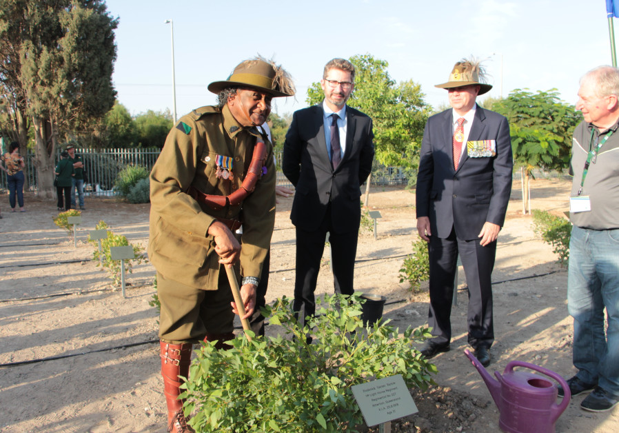 The Australian delegation takes part in a ceremony at Tzemah, one of the sites of the ANZAC battles