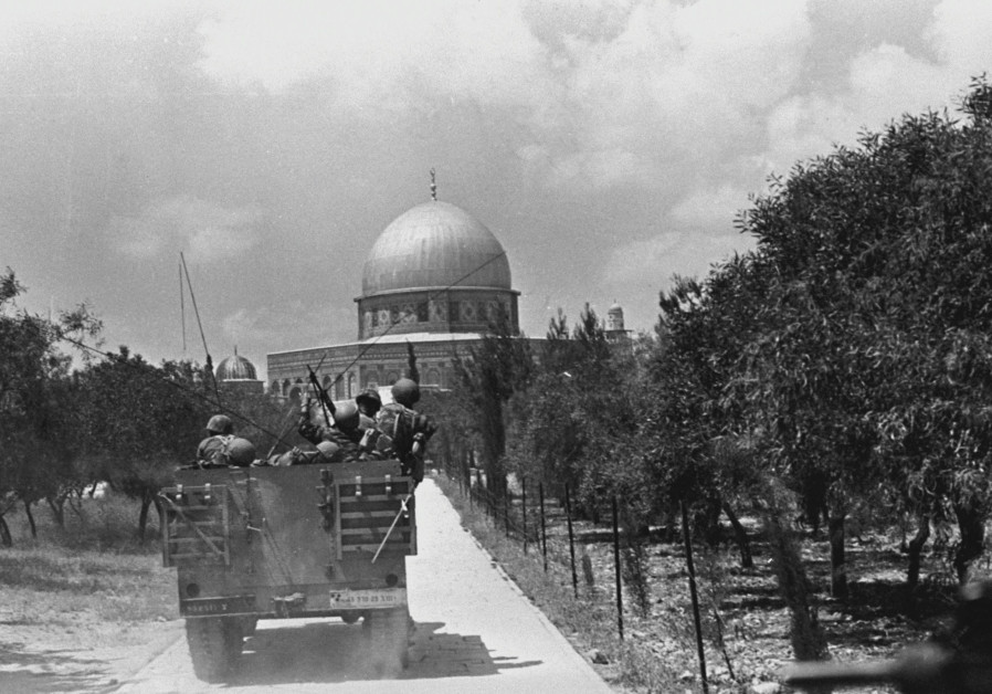 IDF Soldiers arrive at the Temple Mount during the Six Day War in June of 1967. A few months later, the Arab League met, declaring, 'No peace with Israel, no recognition of Israel, no negotiations with it.'