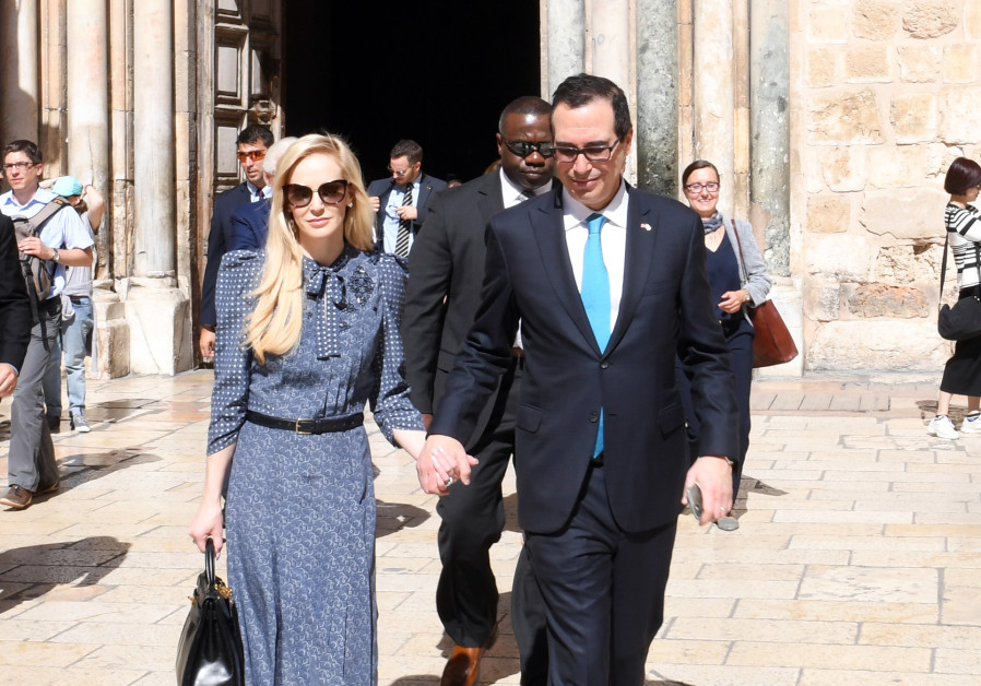 Treasury Secretary Steve Mnuchin and wife Louise Linton (credit: Matty Stern/ US Embassy Tel Aviv)