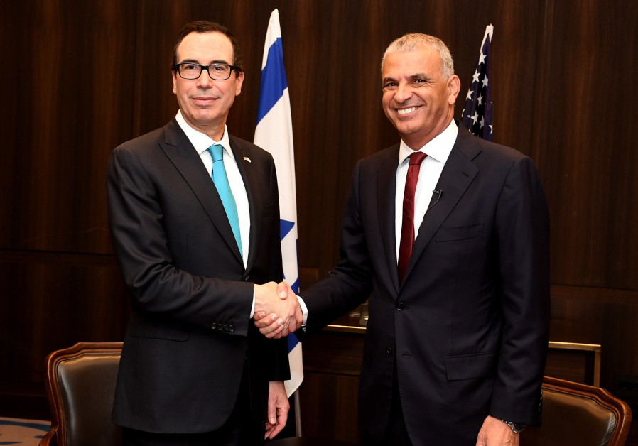 Treasury Secretary Steve Mnuchin and Finance Minister Moshe Kahlon (Credit: Matty Stern/ US Embassy Tel Aviv)