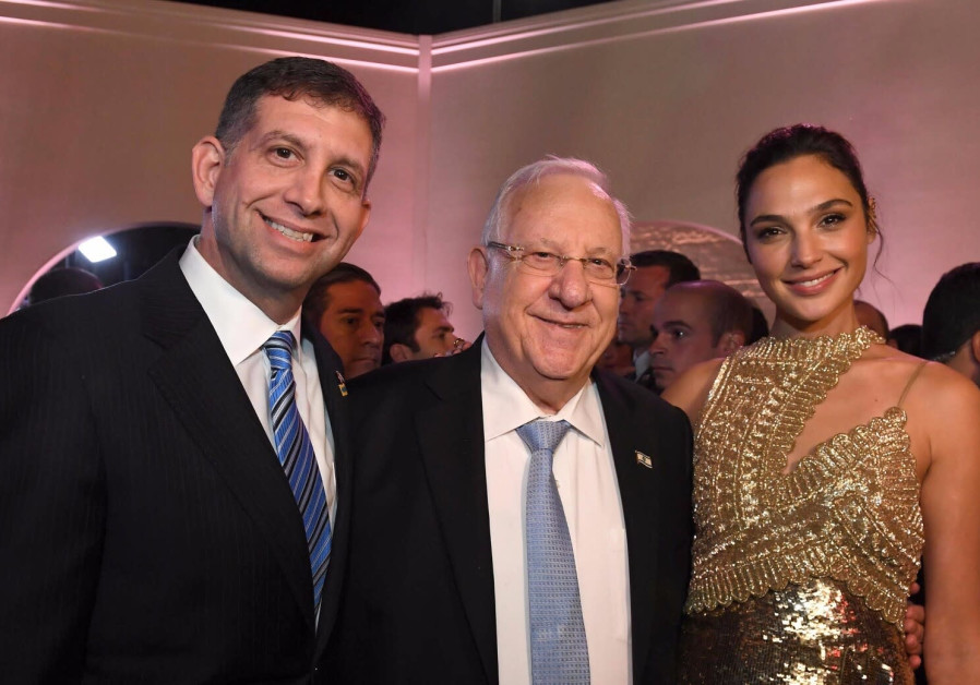 Israel's Counsel General in LA Sam Grundwerg, President Reuven Rivlin and Gal Gadot at the JFNA GA (credit: GPO)