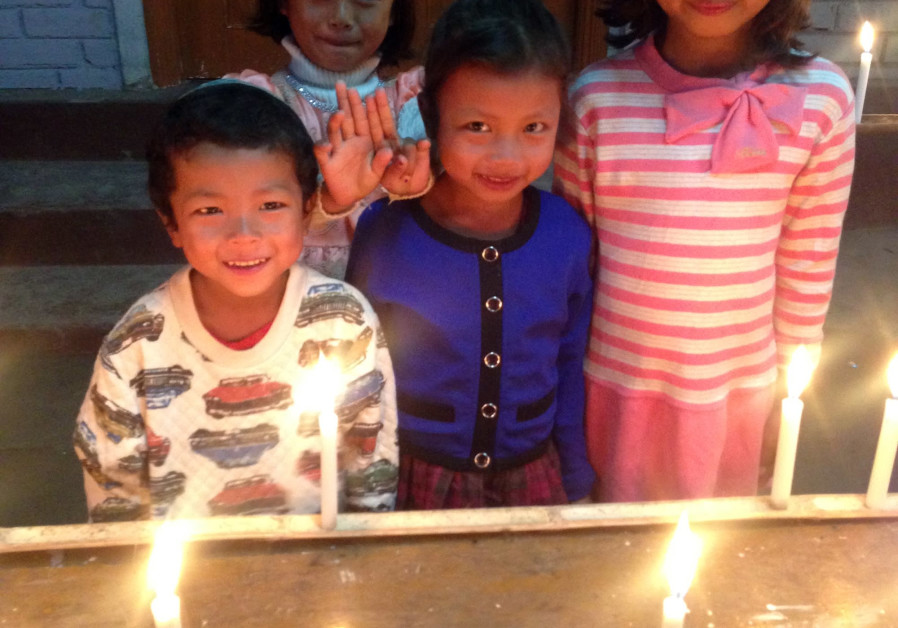 First night of Janukkah in Churachandpur India / SHAVEI ISRAEL