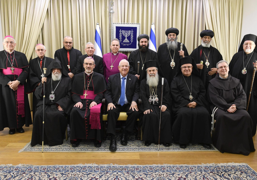 President Rivlin meets with Christian leaders in Jerusalem, December 2017 (credit: Mark Neiman/ GPO)