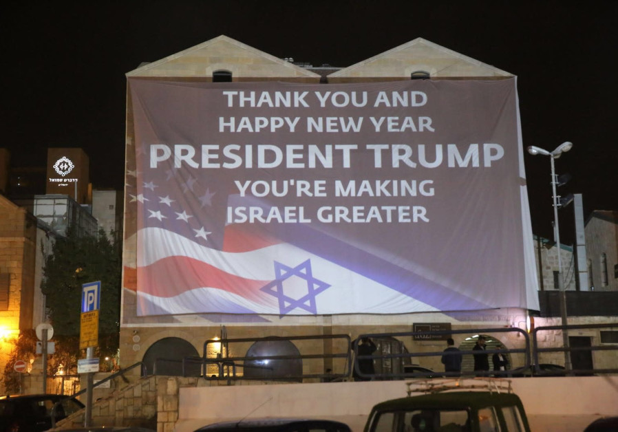 "A four-story digital billboard in Jerusalem at the Friends of Zion Heritage Center says it all. ""Thank you, President Trump. You're making Israel Greater"" / Courtesy"