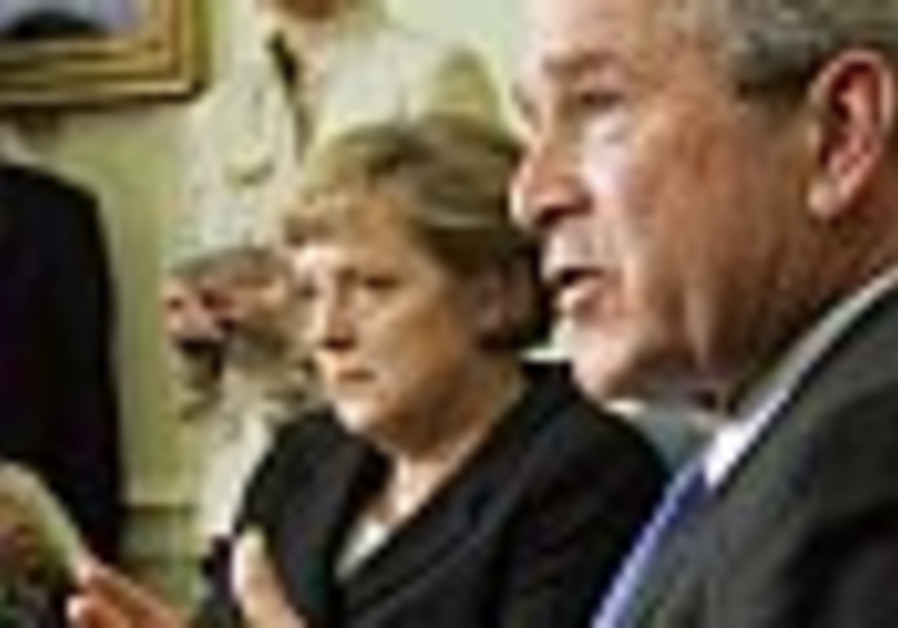 Iran's nuclear ambitions top Bush talks with German chancellor