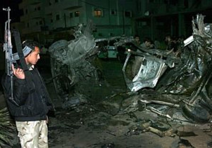 policeman wrecked car idf airstrike