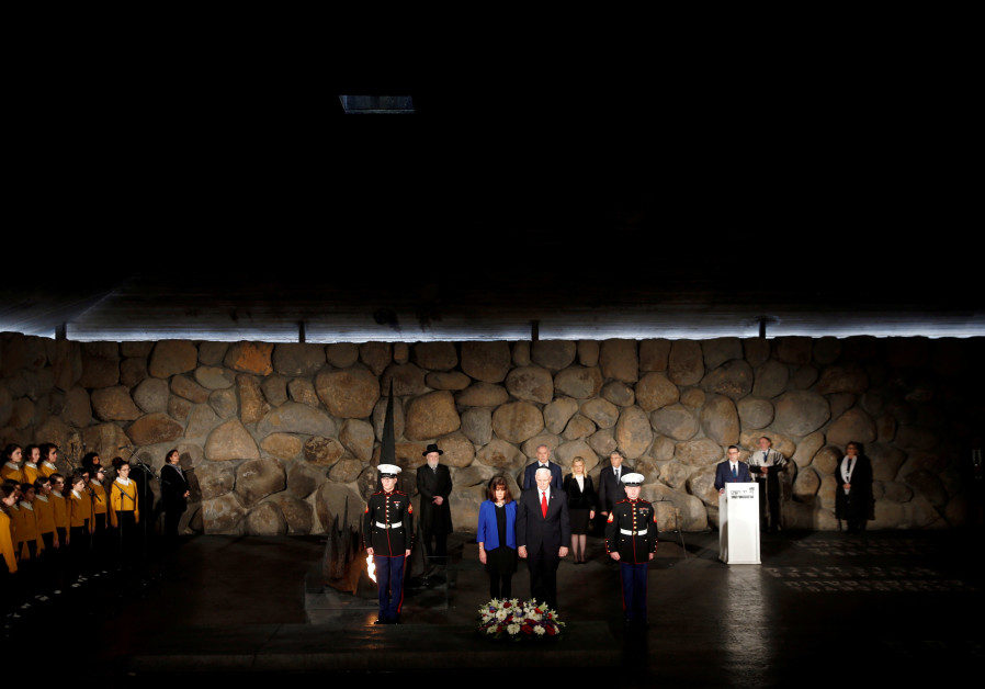 U.S. Vice President Mike Pence and his wife Karen participate in a ceremony commemorating the six million Jews killed by the Nazis during the Holocaust, in the Hall of Remembrance at Yad Vashem World Holocaust Remembrance Center in Jerusalem January 23, 2018. / RONEN ZVULUN / REUTERS