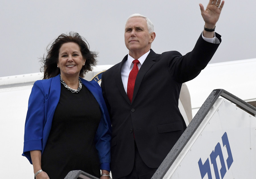 Vice President of the United States Mike Pence departing from Israel's Ben Gurion Airport, January 23, 2018. / MATTY STERN, US EMBASSY TEL AVIV