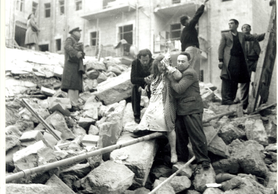 The aftermath of the bombing of the Palestine Post offices, February 1, 1948