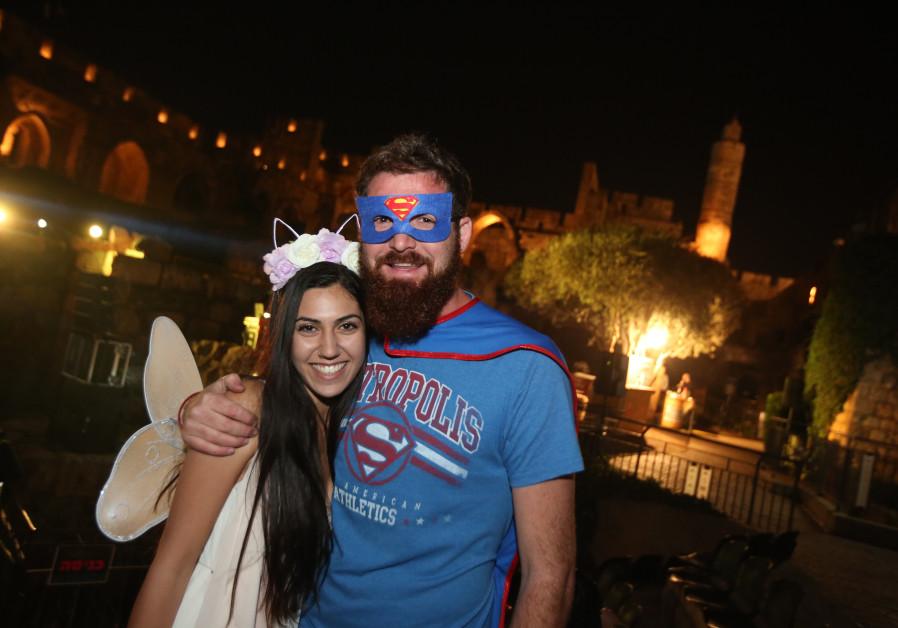 Israelis dressed up for Purim, March 2018 (credit: Marc Israel Sellem/ The Jerusalem Post)