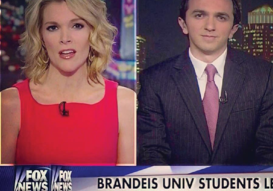Nass advocating for Israel while he was a student at Brandeis on the Fox News Channel's 'Kelly File' with Megyn Kelly / Courtesy of Josh Nass