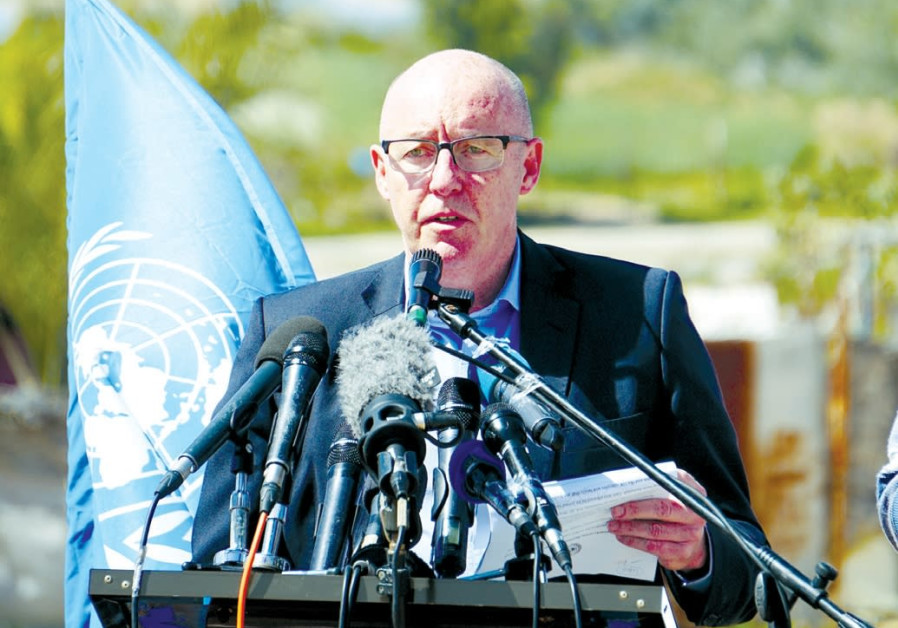UN HUMANITARIAN COORDINATOR Jamie McGoldrick launches the funding campaign yesterday in Beit Lahiya, in the northern Gaza Strip (Courtesy)