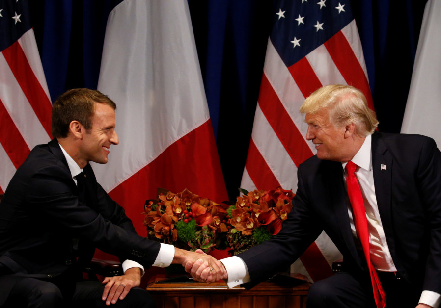 US President Donald Trump meets French President Emmanuel Macron in New York, US, September 18, 2017 .(photo credit: REUTERS/KEVIN LAMARQUE)