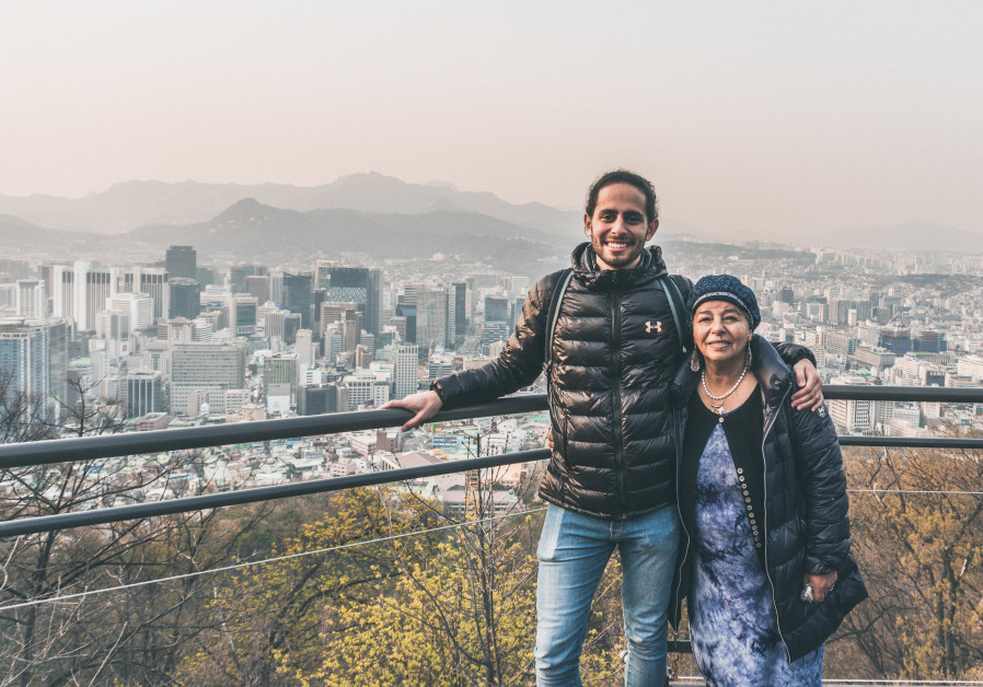 Grandson and grandmother Nathanel Creson and Edna Nahari in Seoul, South Korea