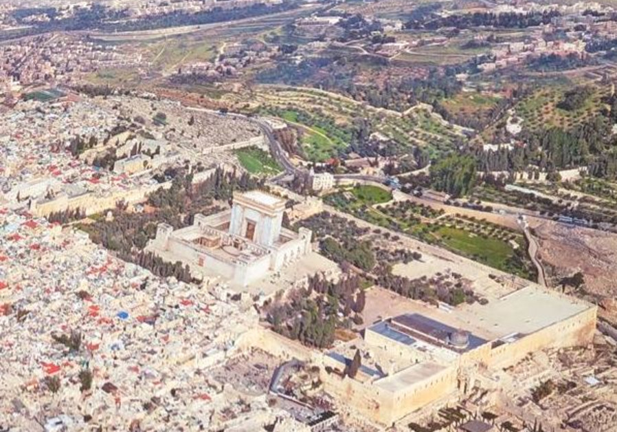 Close-up of a photo of Jerusalem edited to portray the third temple atop the Temple Mount, in lieu of the al-Aqsa Mosque (Kikar HaShabbat)