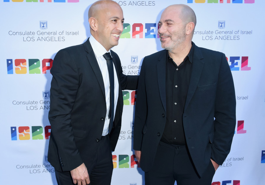 Avi Issacharoff (Left) and Lior Raz attend the 'Hollywood Salutes Israel' event at Universal Studios in Hollywood on Sunday, June 10, 2018 (Credit: Israeli Consulate in Los Angeles)