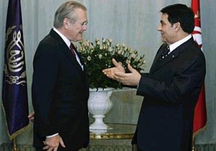 rumsfeld meets tunisian pres