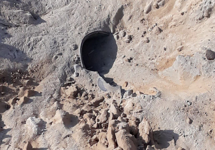 Debris from a rocket launched from the Gaza Strip into Israel in an open area in the Eshkol Regional Council. (Eshkol Regional Council spokesperson)