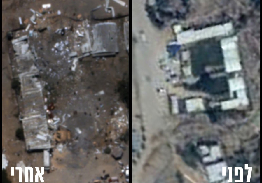 Before (R) and after (L) shots of the destruction of the Hamas battalion headquarters in Zeitoun in the Gaza Strip. (IDF Spokesperson's Unit)