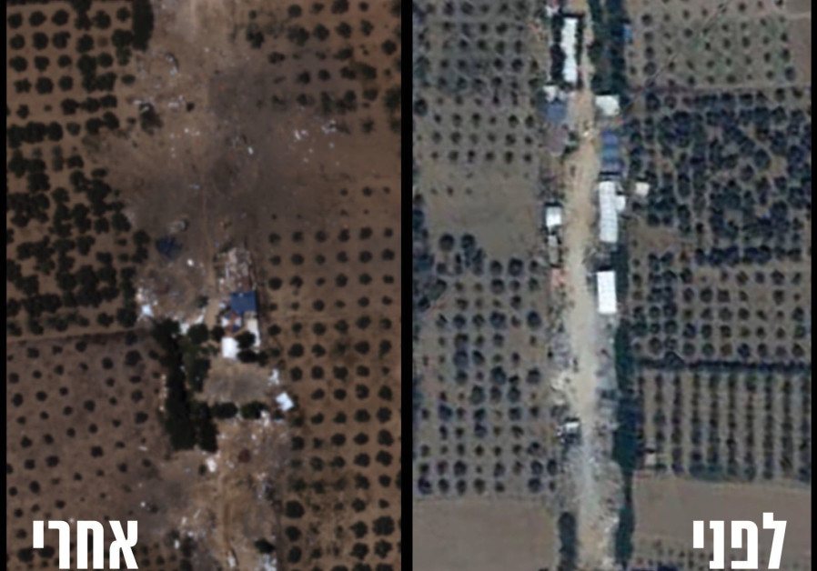 Before (R) and after (L) shots of the destruction of the Hamas battalion headquarters in al-Bureij in the Gaza Strip. (IDF Spokesperson's Unit)