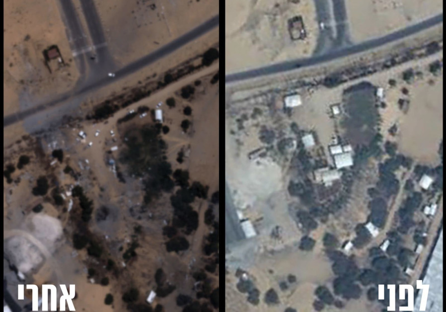Before (R) and after (L) shots of the destruction of the Hamas battalion headquarters in Khan Younis in the Gaza Strip. (IDF Spokesperson's Unit)