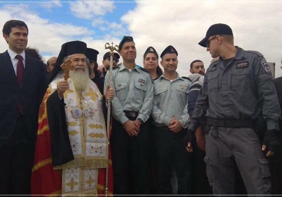 Greek Orthodox Patriarch Theophilos III at the celebration of the Epiphany at Qasr el Yahud, Friday January 18 2019 / Courtesy