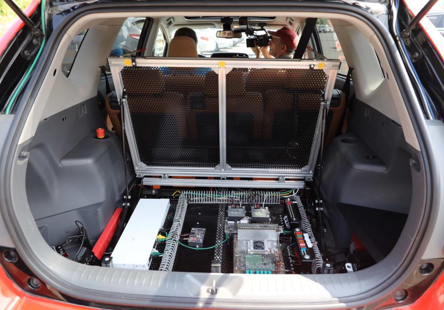 Yandex's autonomous car on a test drive in Tel Aviv, June 12, 2019 (Credit: Marc Israel Sellem/The Jerusalem Post)
