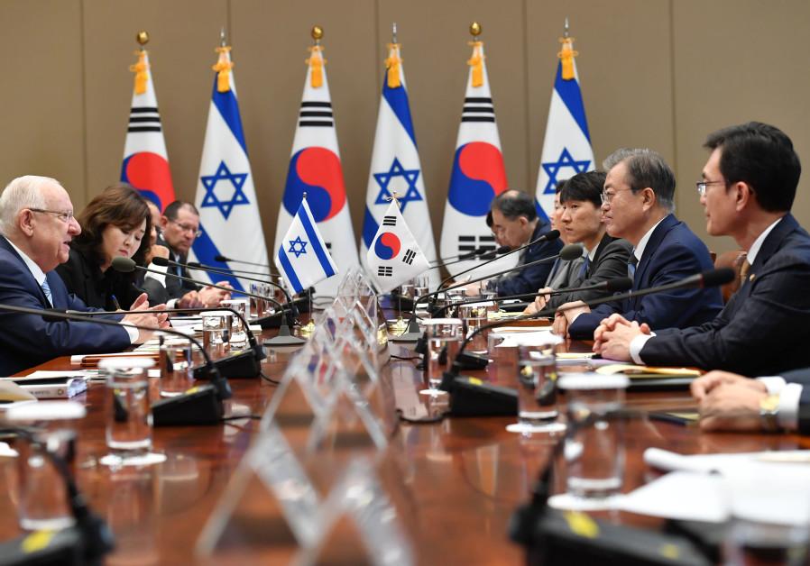 President Rivlin meeting with President Moon of South Korea (Credit: Kobi Gideon/GPO)