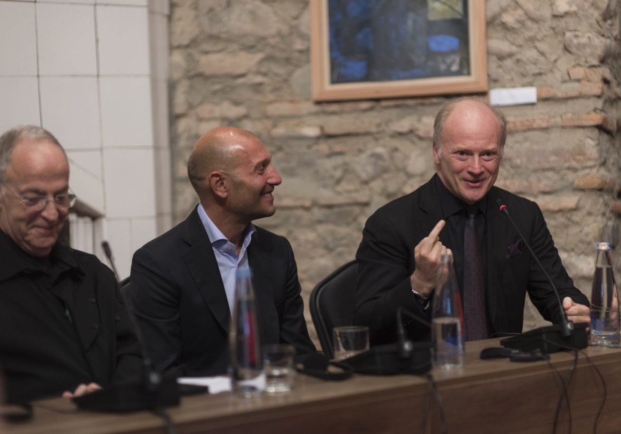 Co-founders of the Tsinandali Festival Avi Shoshani and George Ramishvili and festival music director Gianandrea Noseda speak during a press conference before the opening of the 15-day classical music festival.