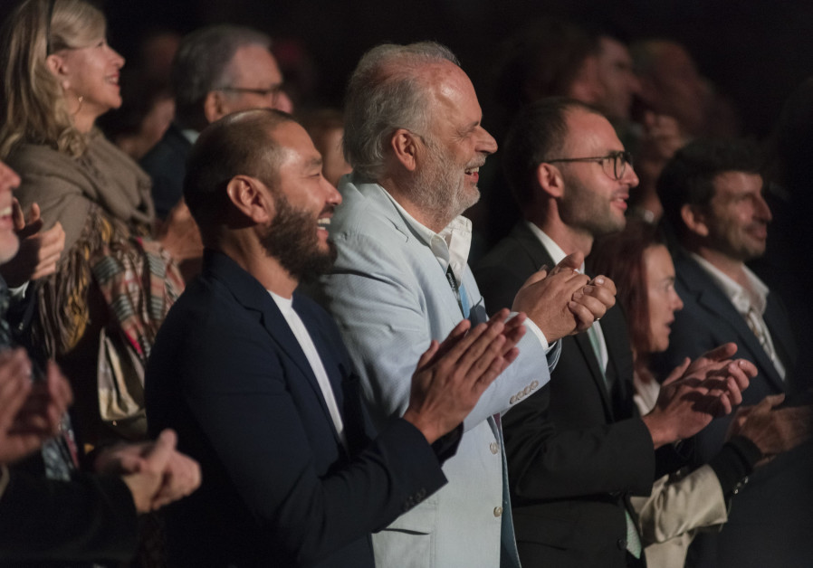 Tsinandali Festival co-founders Yerkin Tatishev and Martin Engstroem applaud the opening performance of the Pan Caucasian Youth Orchestra.
