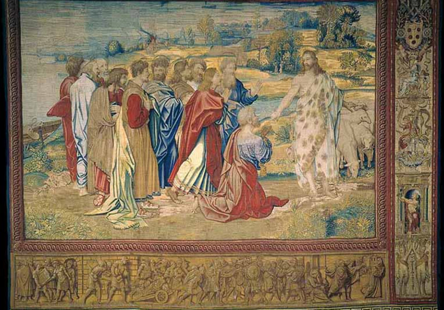 "Tapestry ""Christ's charge to Peter"" designed by Renaissance artist Raphael is on display on a lower wall of the Sistine Chapel at the Vatican"