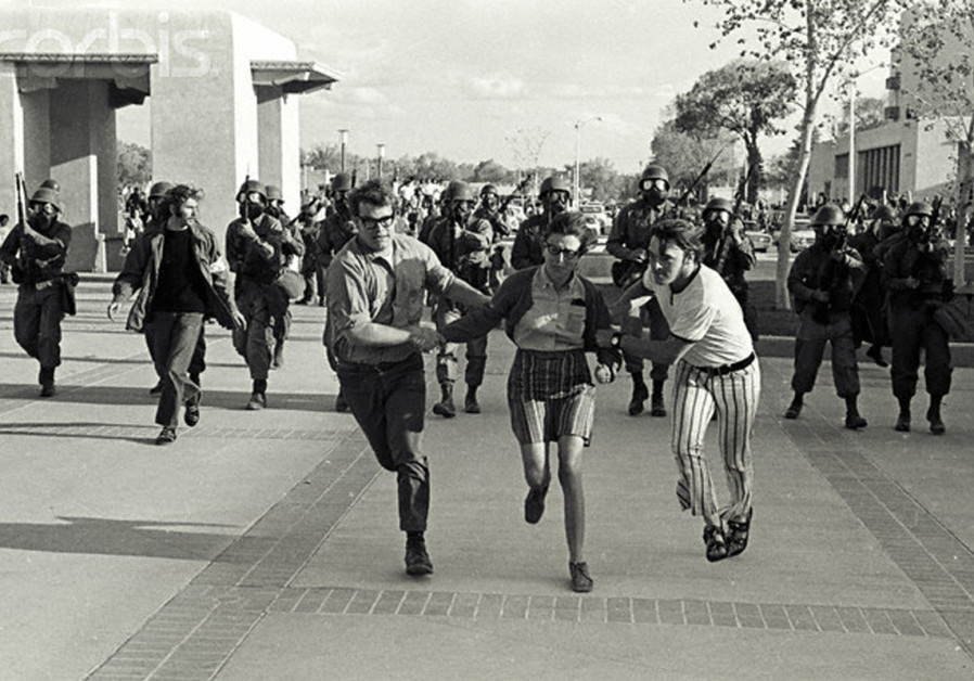 UNIVERSITY OF New Mexico students took over the student union building in response to the shootings. After several days of occupation, the National Guard were called upon to clear the students from the building.  (Image by © Steven Clevenger/ Corbis; provided by Tommy Japan 79/Flickr)
