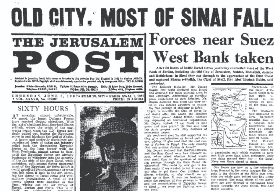 The Jerusalem Post's coverage of the Six Day War.