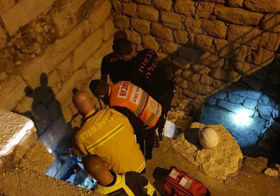 The shaft near the Western Wall where the woman fell into (United Hatzalah)