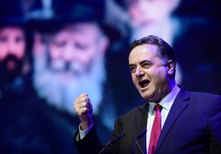 FINANCE MINISTER Israel Katz speaks at a 2019 Chabad rally in Tel Aviv. (Tomer Neuberg/Flash90)
