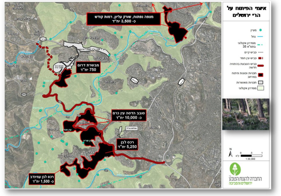 MAPPING THE planned neighborhoods in the Jerusalem Hills (designated in black). (SPNI)