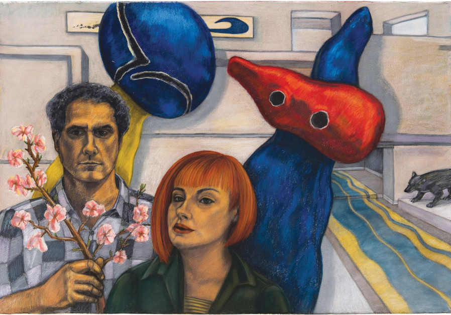AN ART selfie of Zaidel and her husband, fellow artist Oded Zaidel, set against Miro's abstract surrealist sculpture 'Pair of Lovers Playing with Almond Blossoms.' (Michael Amar)