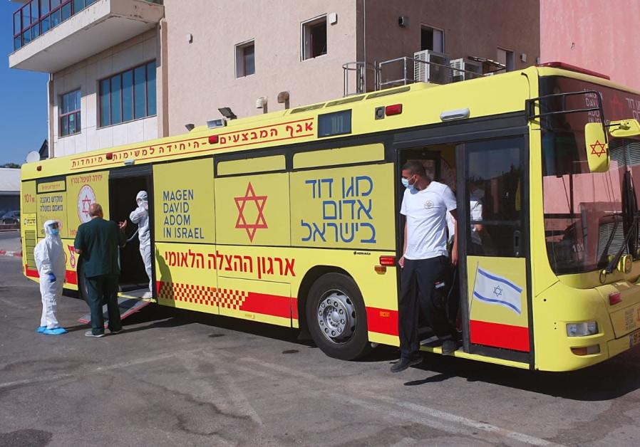 MDA uses ambulance bus to evacuate nine from southern Israel nursing home. (Magen David Adom)