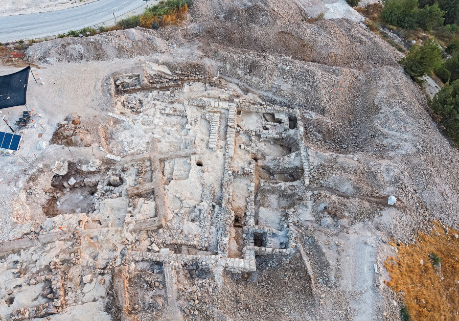 Aerial Photo of the Israel Antiquities Authority excavation on the slopes of Arnona (photo credit: Assaf Perez/Israel Antiquities Authority)