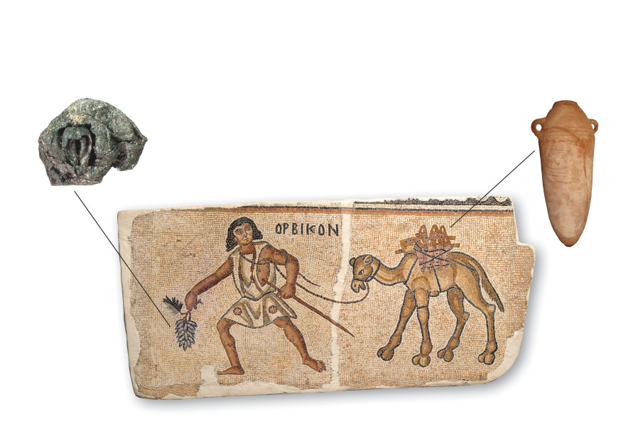 The mosaic of Kissufim near Gaza, depicting Orbikon the camel driver, captures the overland transport of the products of viticulture in the region during Late Antiquity. Artifactual remnants of the two main components of Orbikon's load – grapes and Gaza jars – further illuminate this phenomenon. (Israel Museum of Jerusalem)