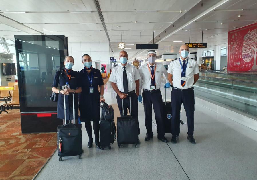 The Israir flight from India carrying 100 Bar Ilan graduate students. (Israir)